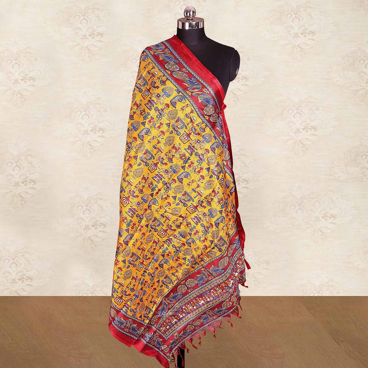 Classy Yellow Colored Casual Wear Printed Cotton Blend Dupatta With Tassels