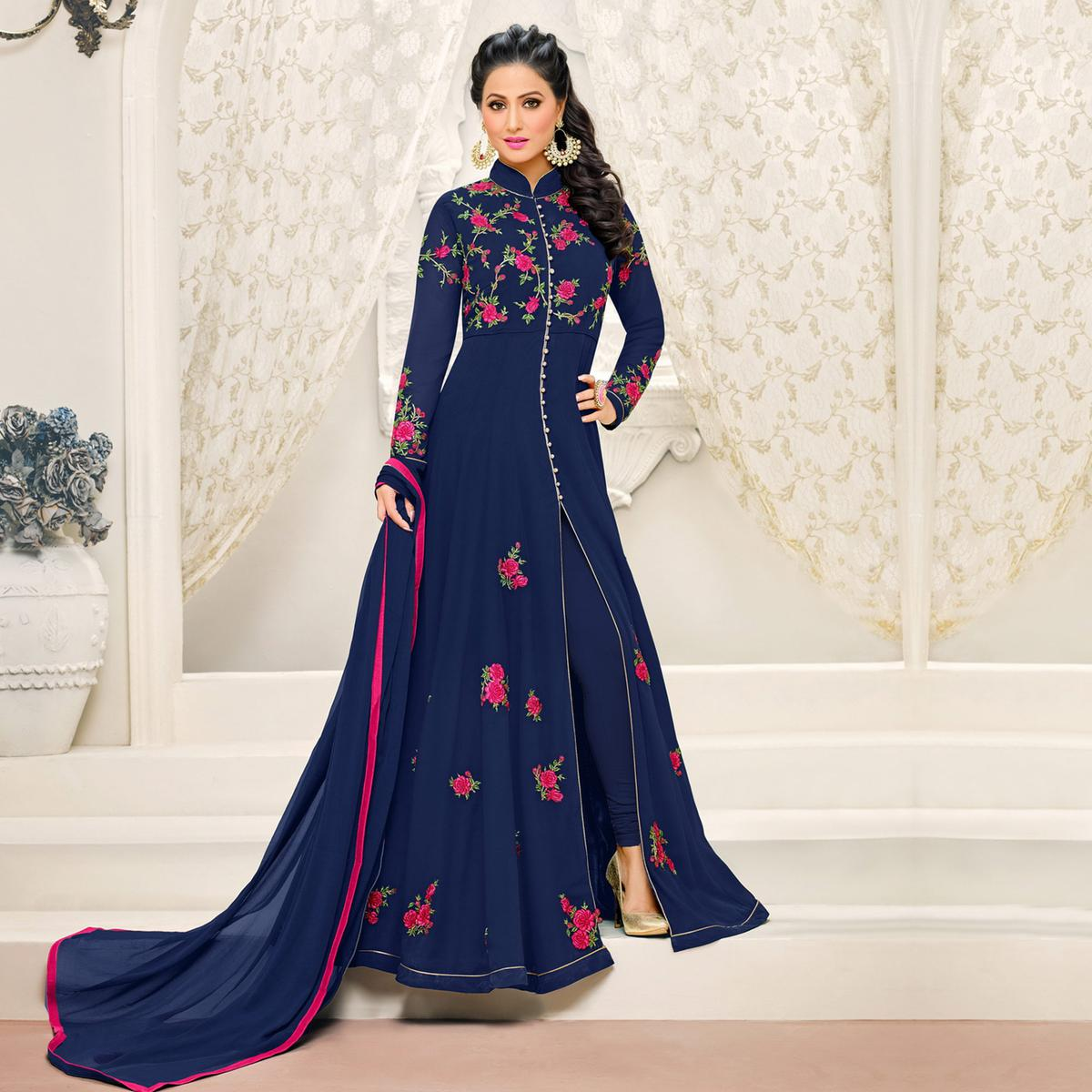 Beautiful Navy Blue Floral Embroidered Georgette Anarkali Suit