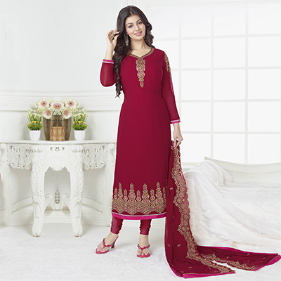 Beautiful Magenta Color Embroidered Partywear Suit