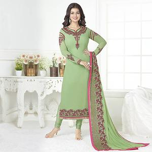 Stunning Green Embroidered Georgette Salwar Suit