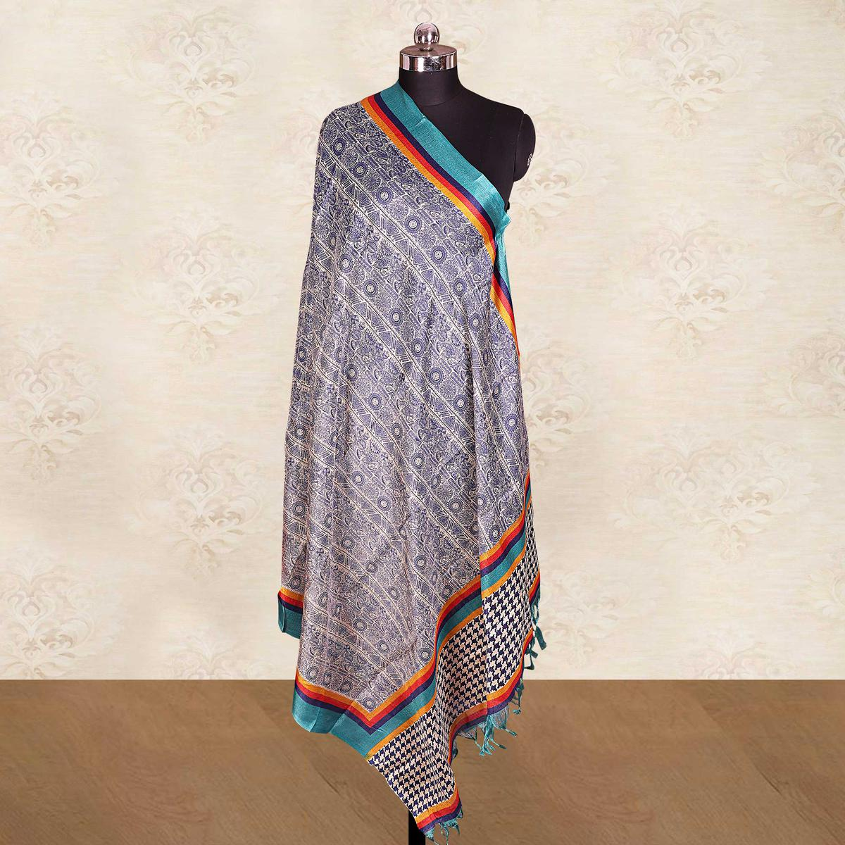 Majesty Blue Colored Casual Wear Printed Cotton Blend Dupatta With Tassels