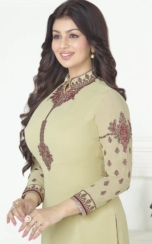 Gorgeous Light Olive Green Embroidered High Neck Suit