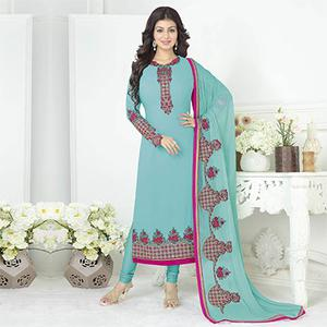 Alluring Firozi Color Embroidered Straight Cut Suit