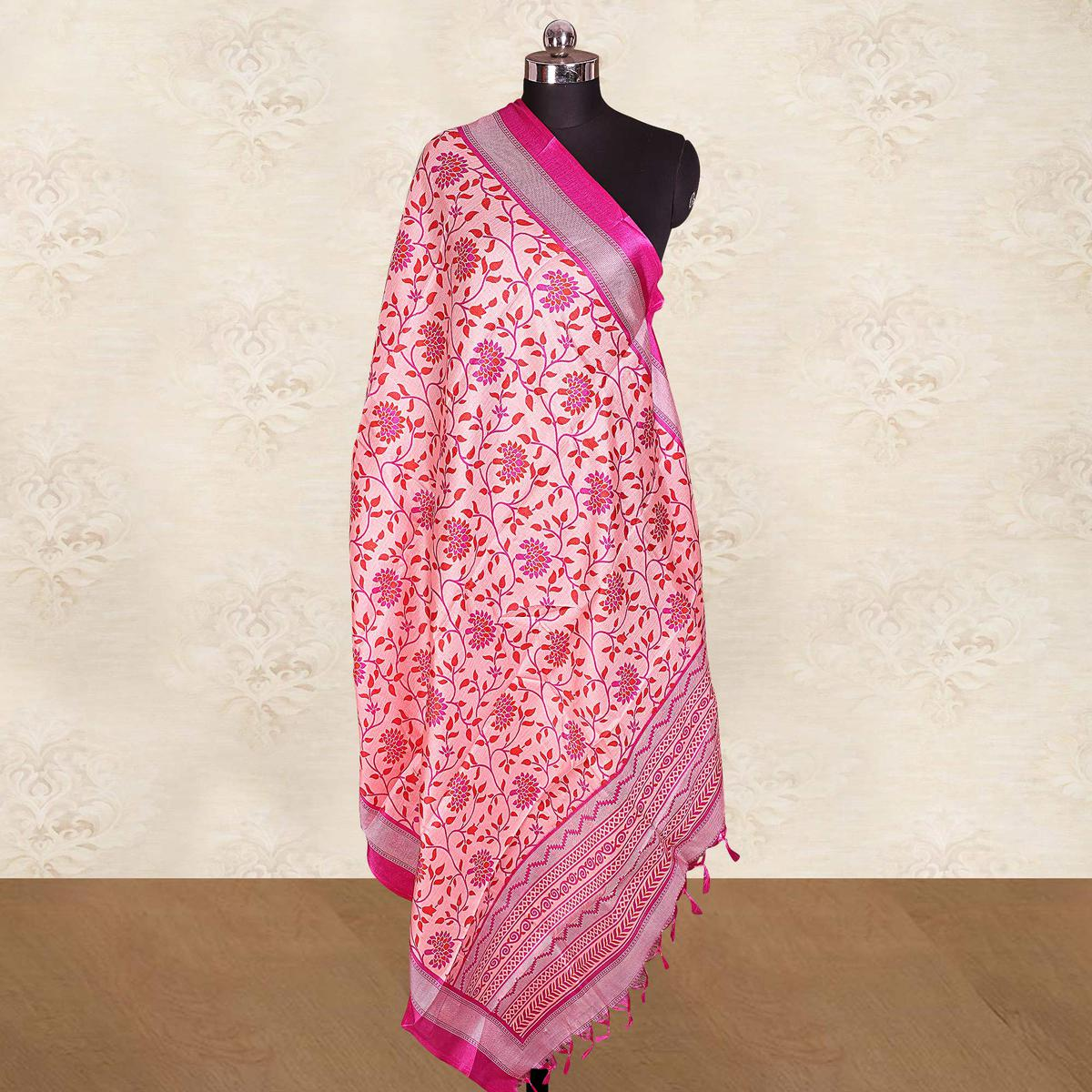 Exceptional Pink Colored Casual Wear Printed Cotton Blend Dupatta With Tassels