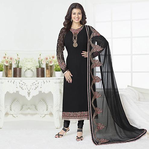 Elegant Black Floral Embroidered Georgette Salwar Suit