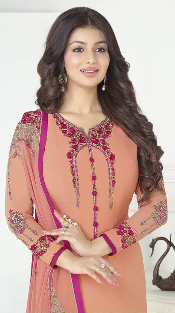 Sizzling Peach Georgette Embroidered Partywear Suit