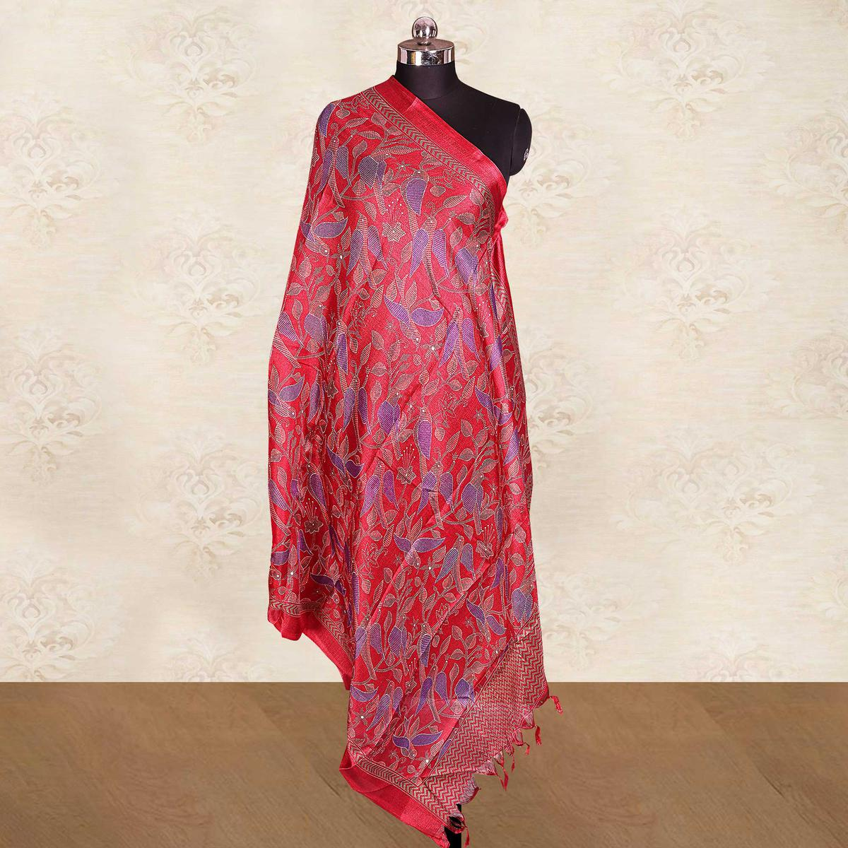 Flaunt Red Colored Casual Wear Printed Cotton Blend Dupatta With Tassels
