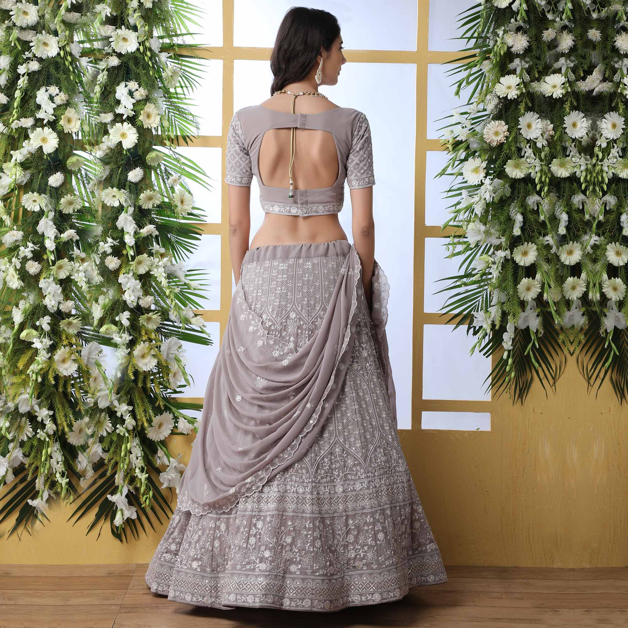 Classy Grey Colored Party Wear Embroidered Georgette Legenga Choli