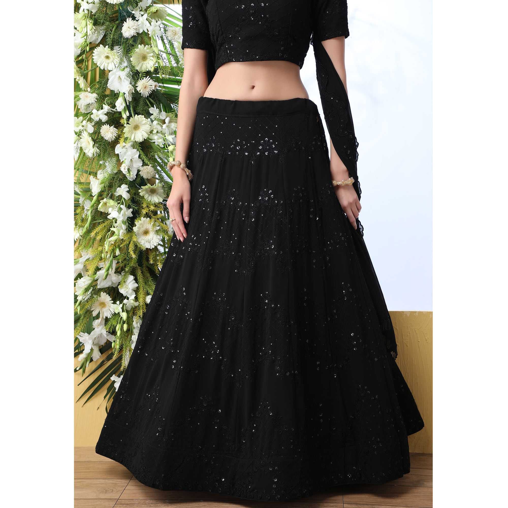 Prominent Black Colored Party Wear Embroidered Georgette Legenga Choli