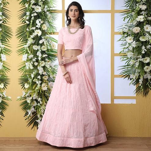 Appealing Pink Colored Party Wear Embroidered Georgette Legenga Choli