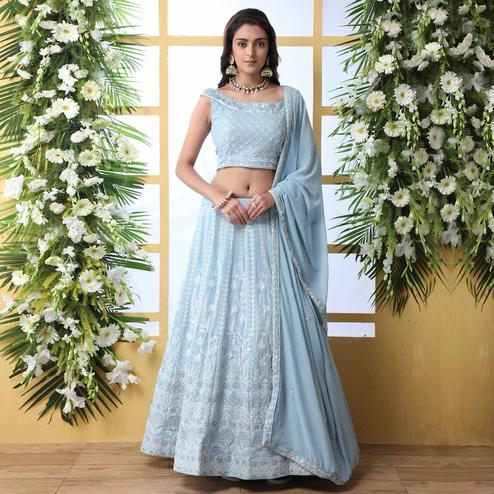 Capricious Light Blue Colored Party Wear Embroidered Georgette Legenga Choli