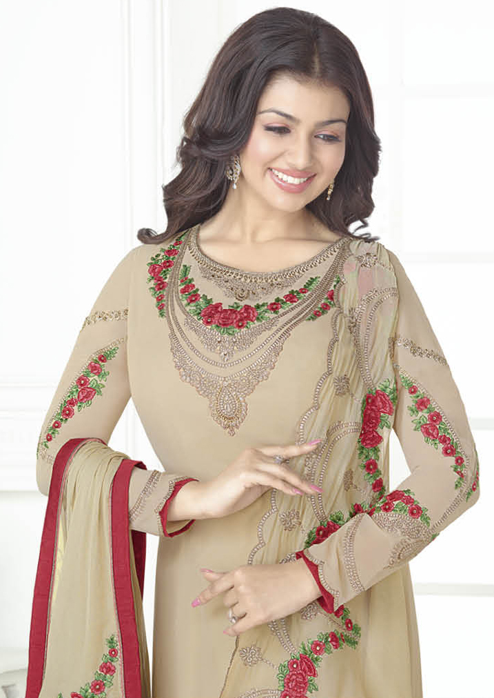 Graceful Beige Designer Embroidered Georgette Salwar Suit