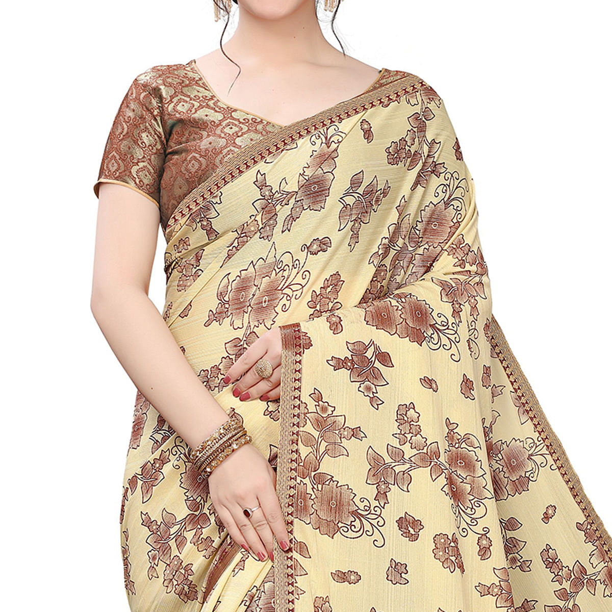 Glowing Beige Colored Casual Wear Printed Lycra Blend Saree