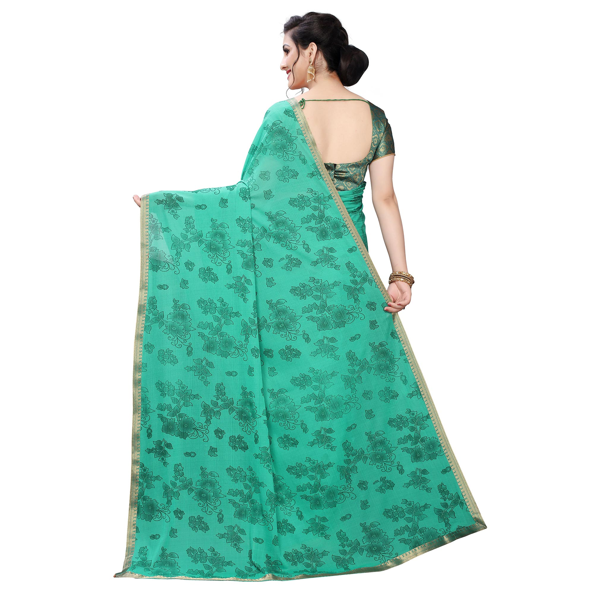 Unique Green Colored Casual Wear Printed Lycra Blend Saree