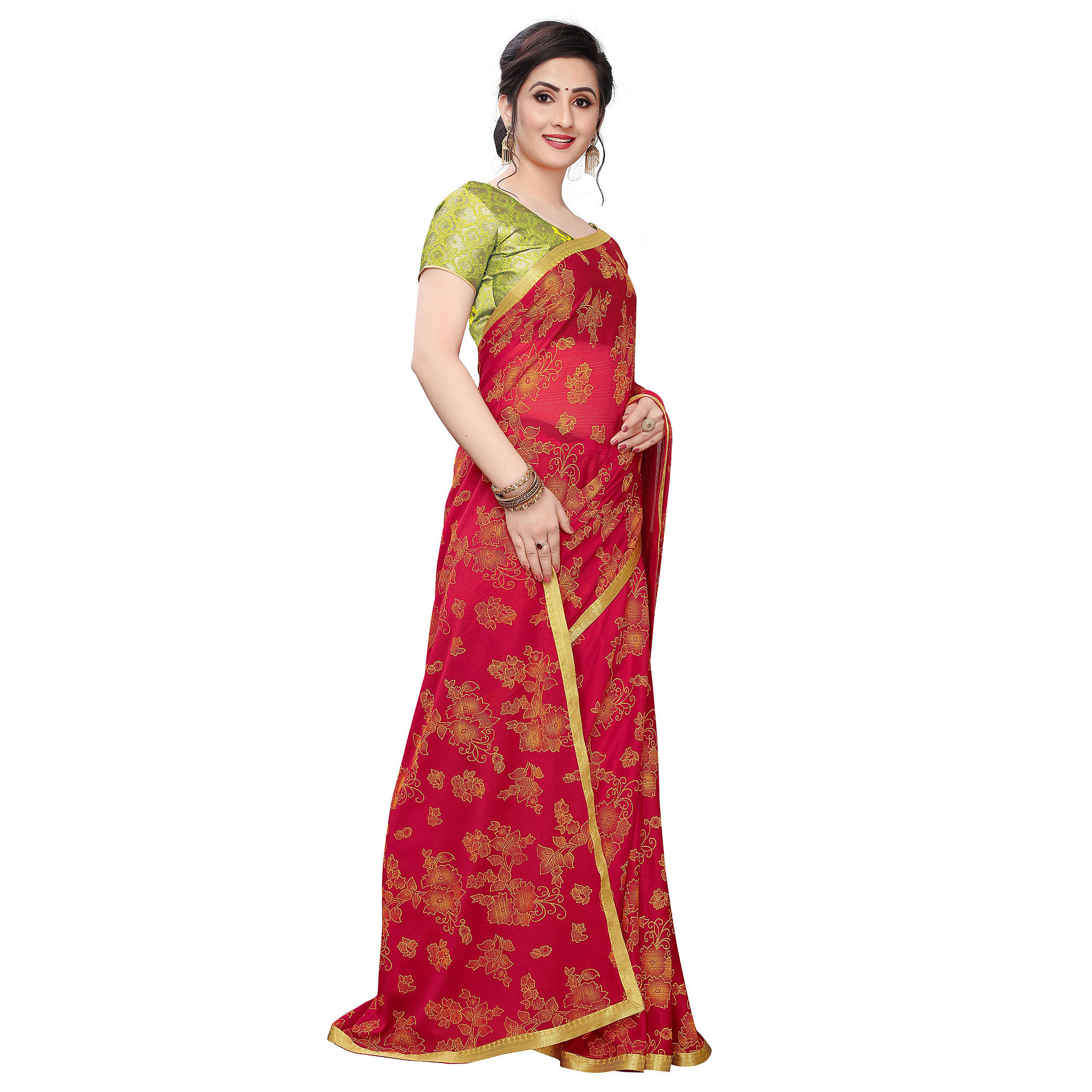 Pretty Red Colored Casual Wear Printed Lycra Blend Saree