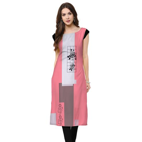 Intricate Light Pink Colored Casual Printed Rayon Kurti
