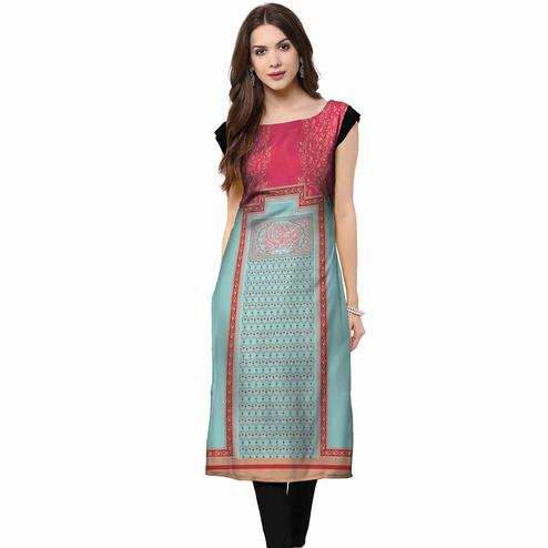 Entrancing Pink-Sky Blue Colored Casual Printed Rayon Kurti