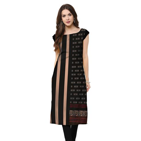 Groovy Black Colored Casual Printed Rayon Kurti
