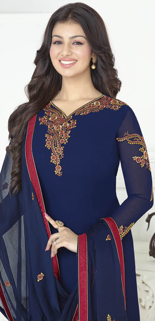 Stylish Navy Blue Designer Embroidered Georgette Salwar Suit