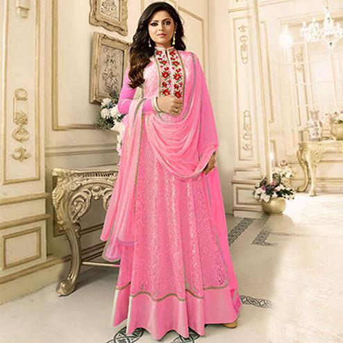 Gorgeous Pink Floral Embroidered Work Anarkali Suit