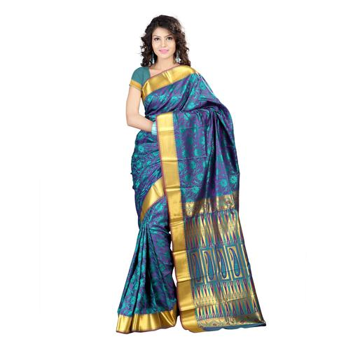 Varkala Silk - Teal Blue Colored Festive Wear Woven Kanjivaram Art Silk Saree