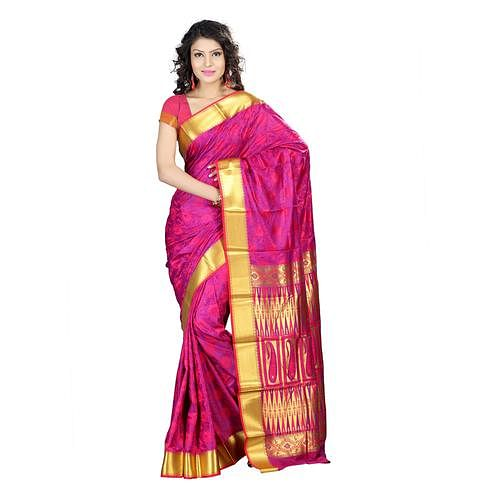 Varkala Silk - Pink Colored Festive Wear Woven Kanjivaram Art Silk Saree