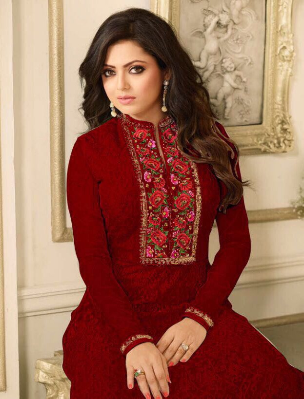 Mesmerising Maroon Floral Embroidered Work Anarkali Suit