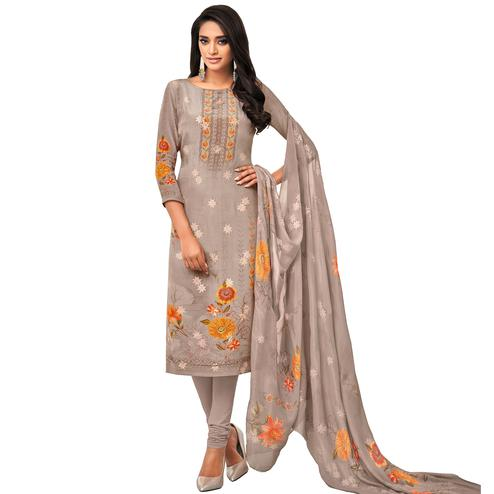 Graceful Grey Colored Casual Wear Printed Pure Viscose Dress Material