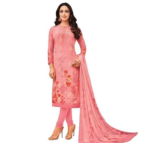 Charming Pink Colored Casual Wear Printed Pure Viscose Dress Material