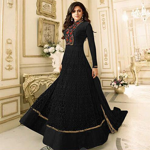 Arresting Black Floral Embroidered Work Anarkali Suit