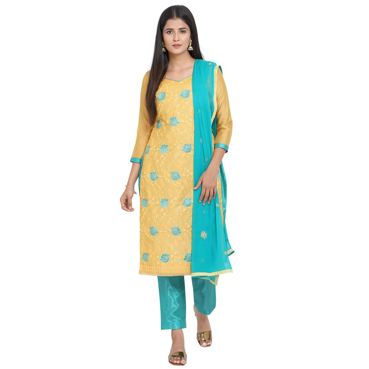 Innovative Yellow Colored Casual Wear Embroidered Chanderi Cotton Dress Material