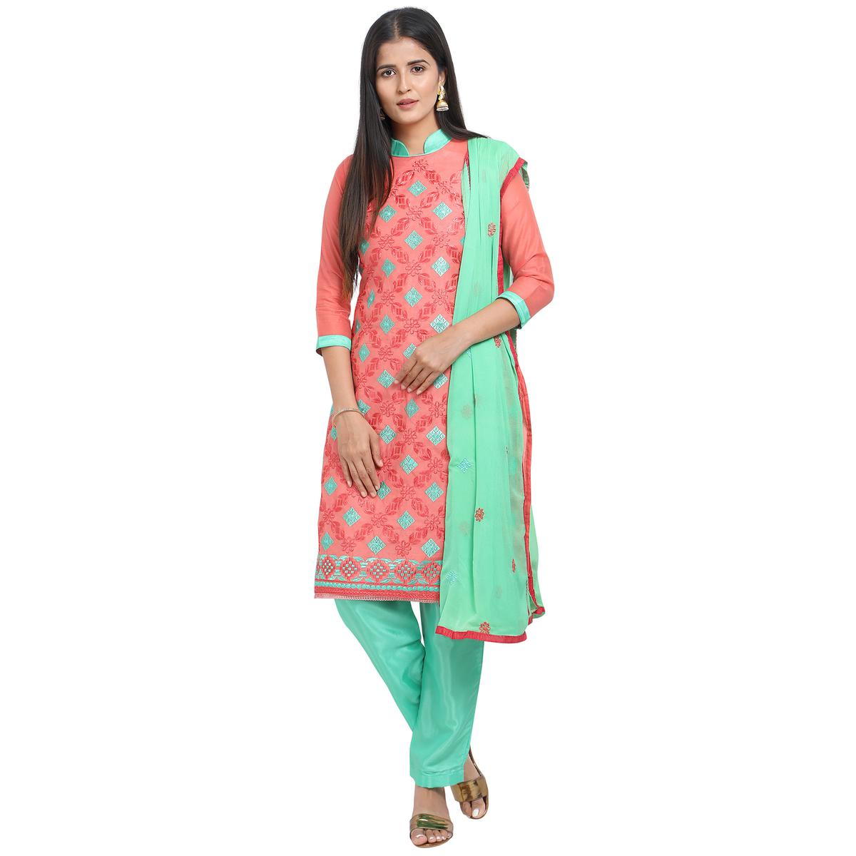 Gorgeous Peach Colored Casual Wear Embroidered Chanderi Cotton Dress Material