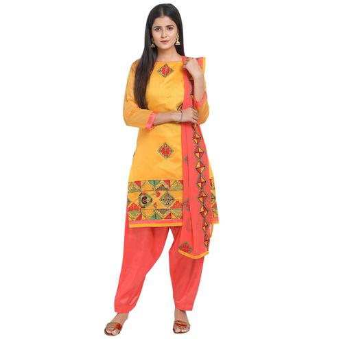 Imposing Yellow Colored Casual Wear Embroidered Chanderi Cotton Dress Material