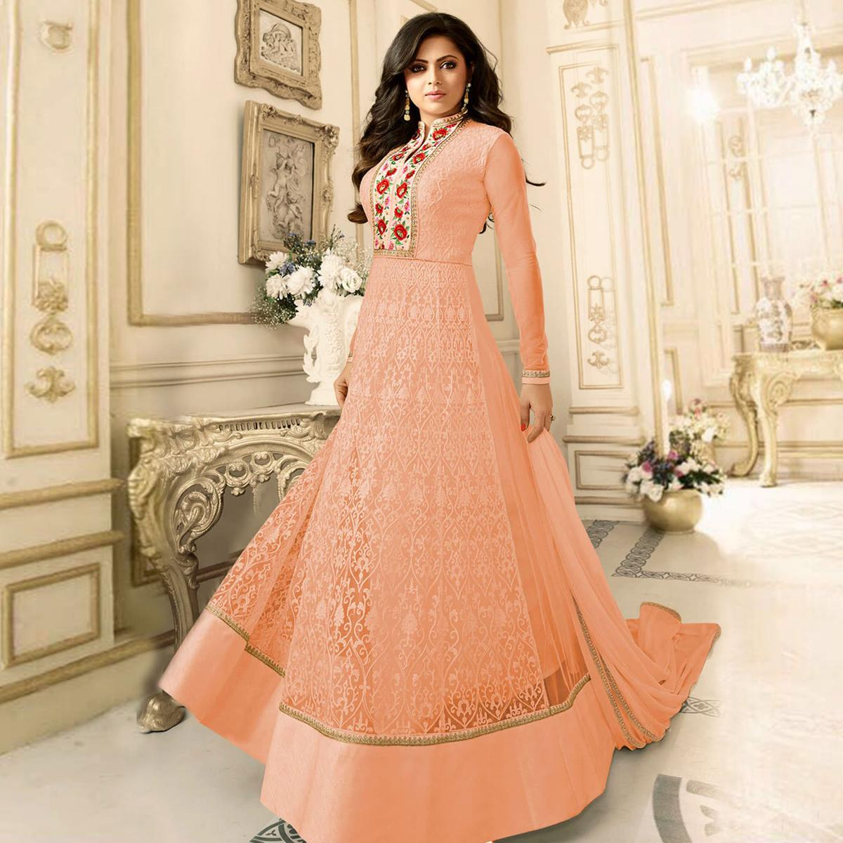 Graceful Peach Floral Embroidered Work Anarkali Suit