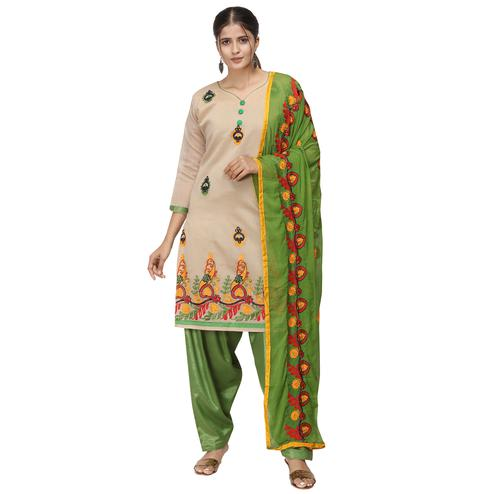 Lovely Beige Colored Casual Wear Embroidered Chanderi Cotton Dress Material