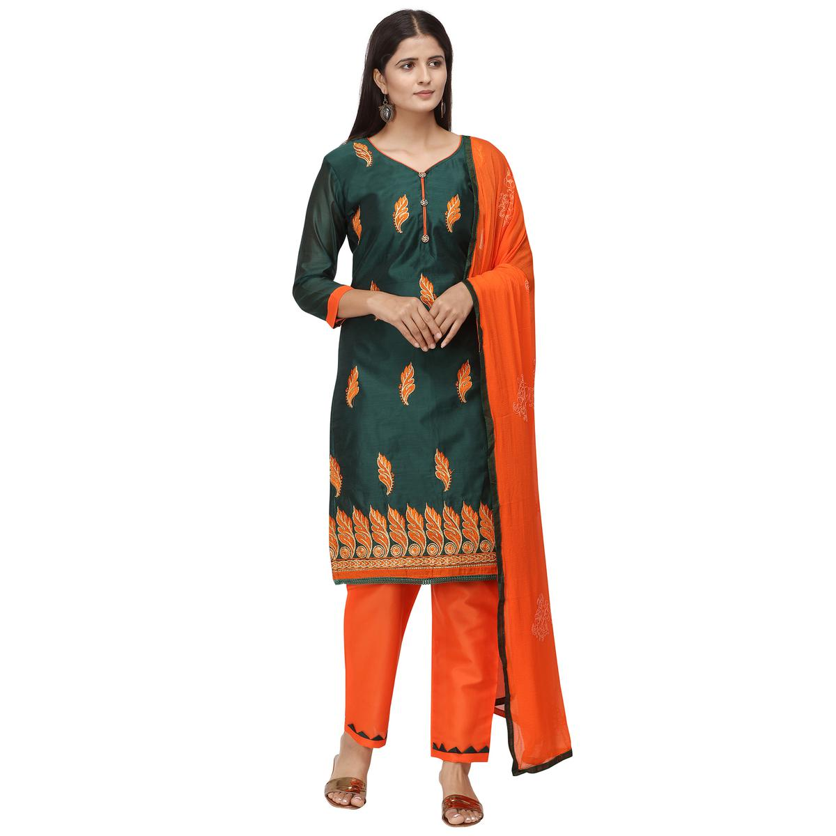 Majesty Dark Green Colored Casual Wear Embroidered Chanderi Cotton Dress Material