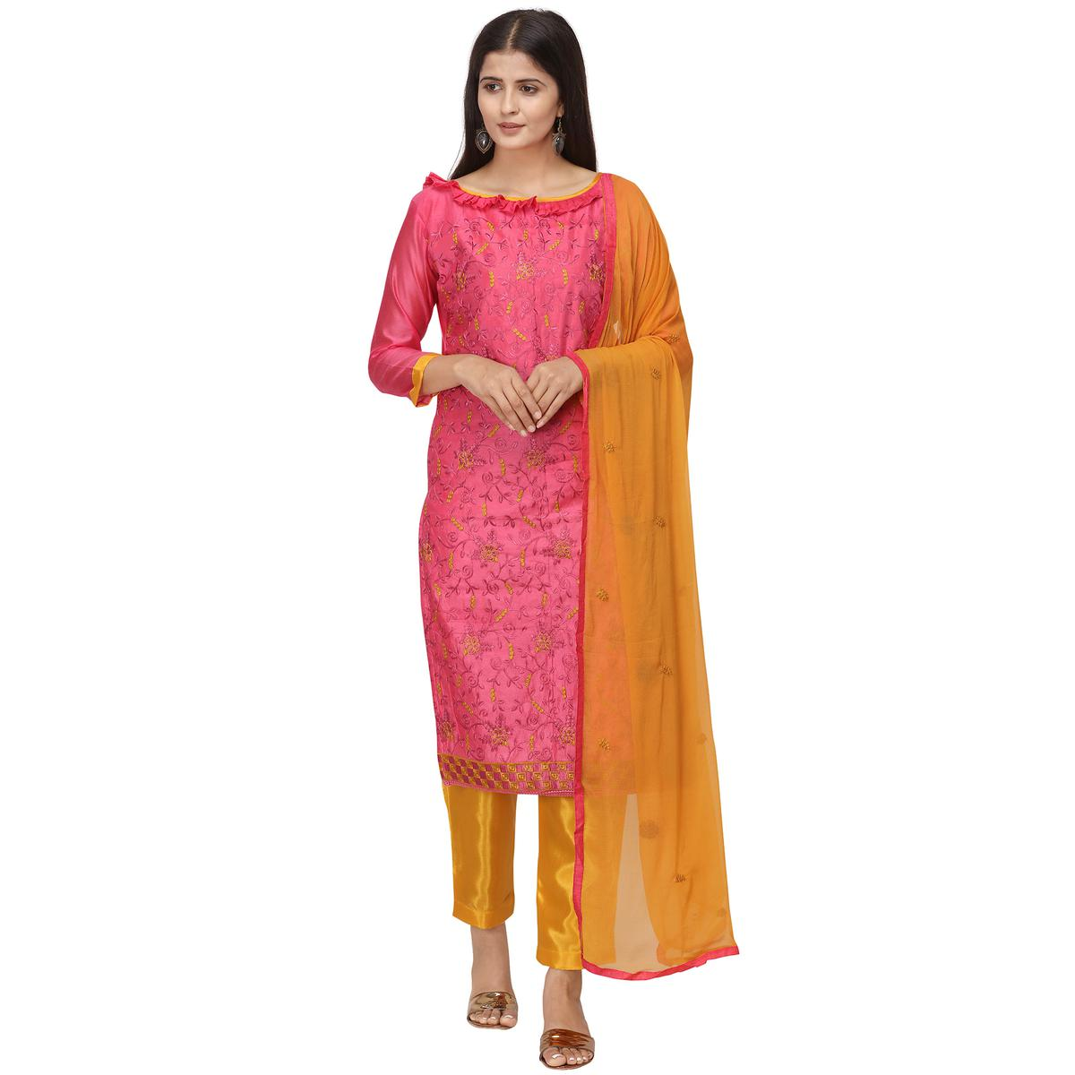 Mesmerising Pink Colored Casual Wear Embroidered Chanderi Cotton Dress Material