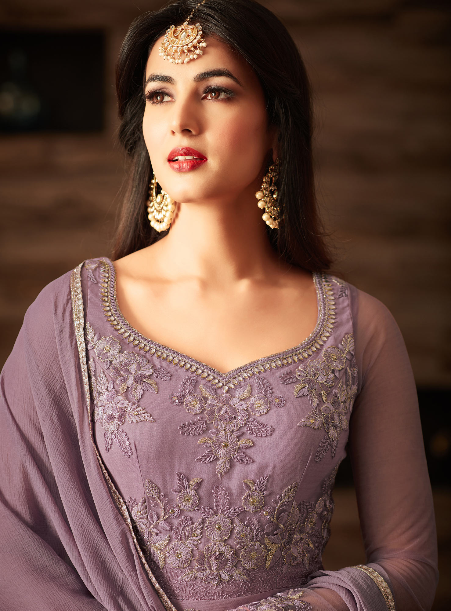Gorgeous Purple Net Designer Partywear Embroidered Anarkali Suit
