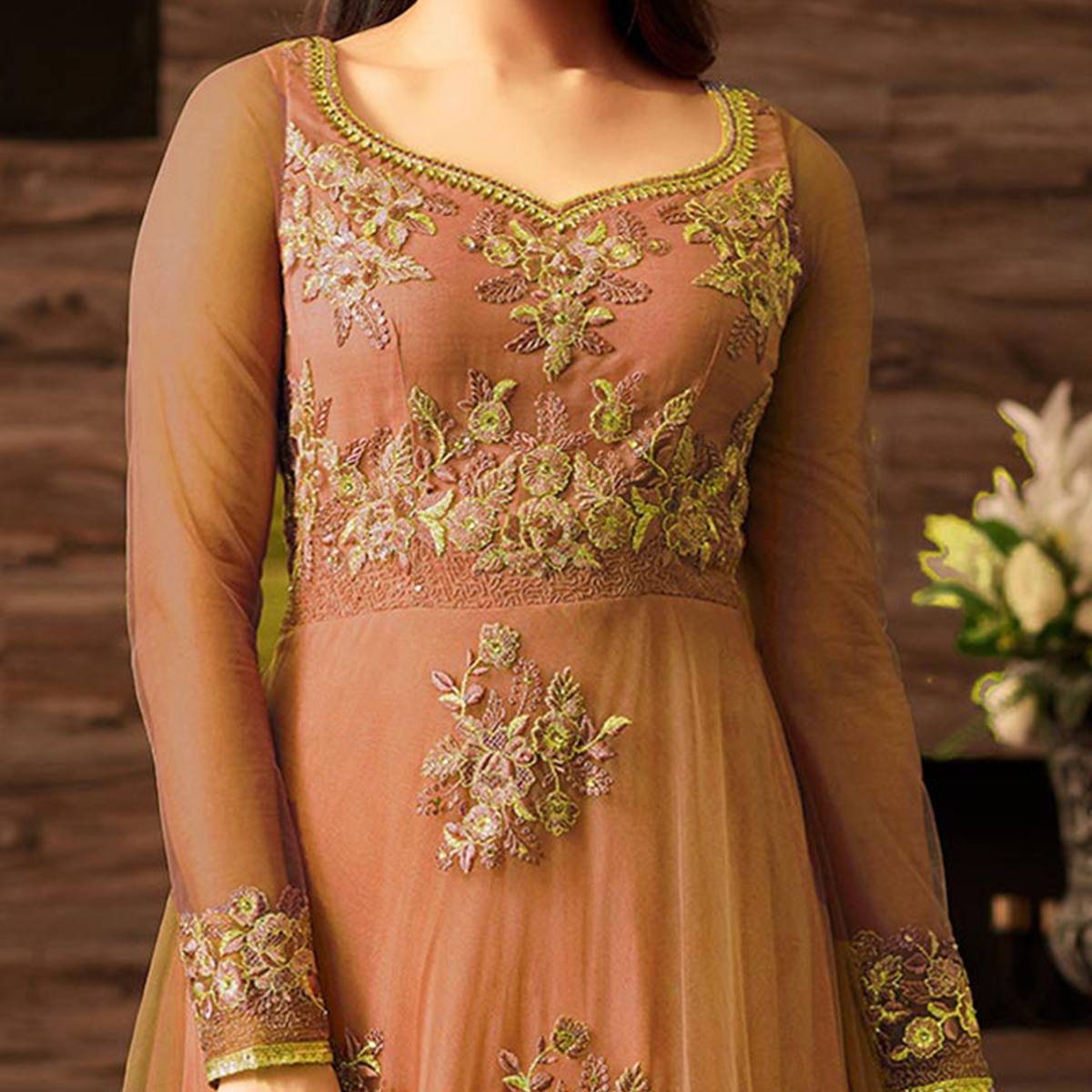 Gorgeous Peach Net Designer Partywear Embroidered Anarkali Suit