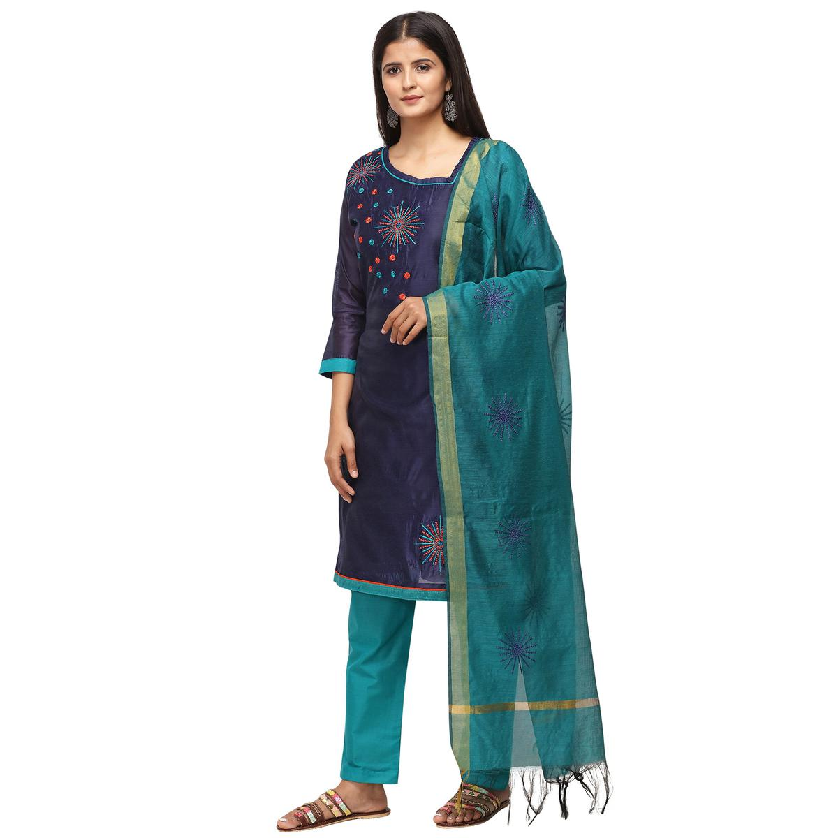 Preferable Navy Blue Colored Casual Wear Embroidered Chanderi Cotton Dress Material