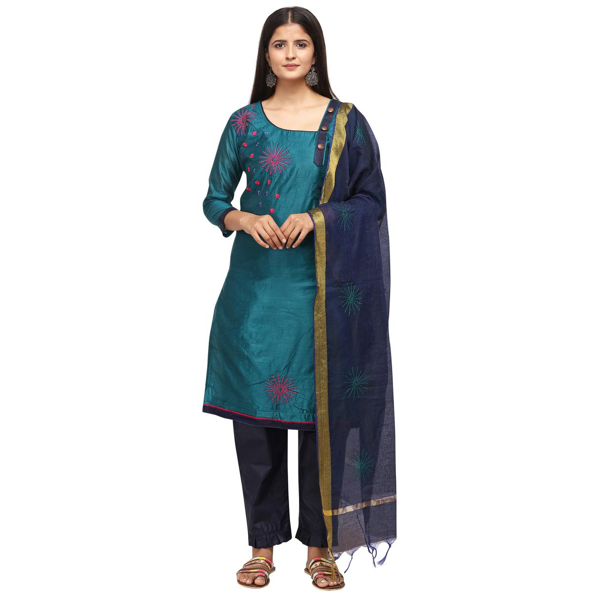 Marvellous Teal Blue Colored Casual Wear Embroidered Chanderi Cotton Dress Material