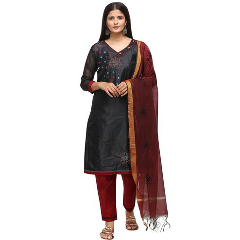 Flamboyant Black Colored Casual Wear Embroidered Chanderi Cotton Dress Material