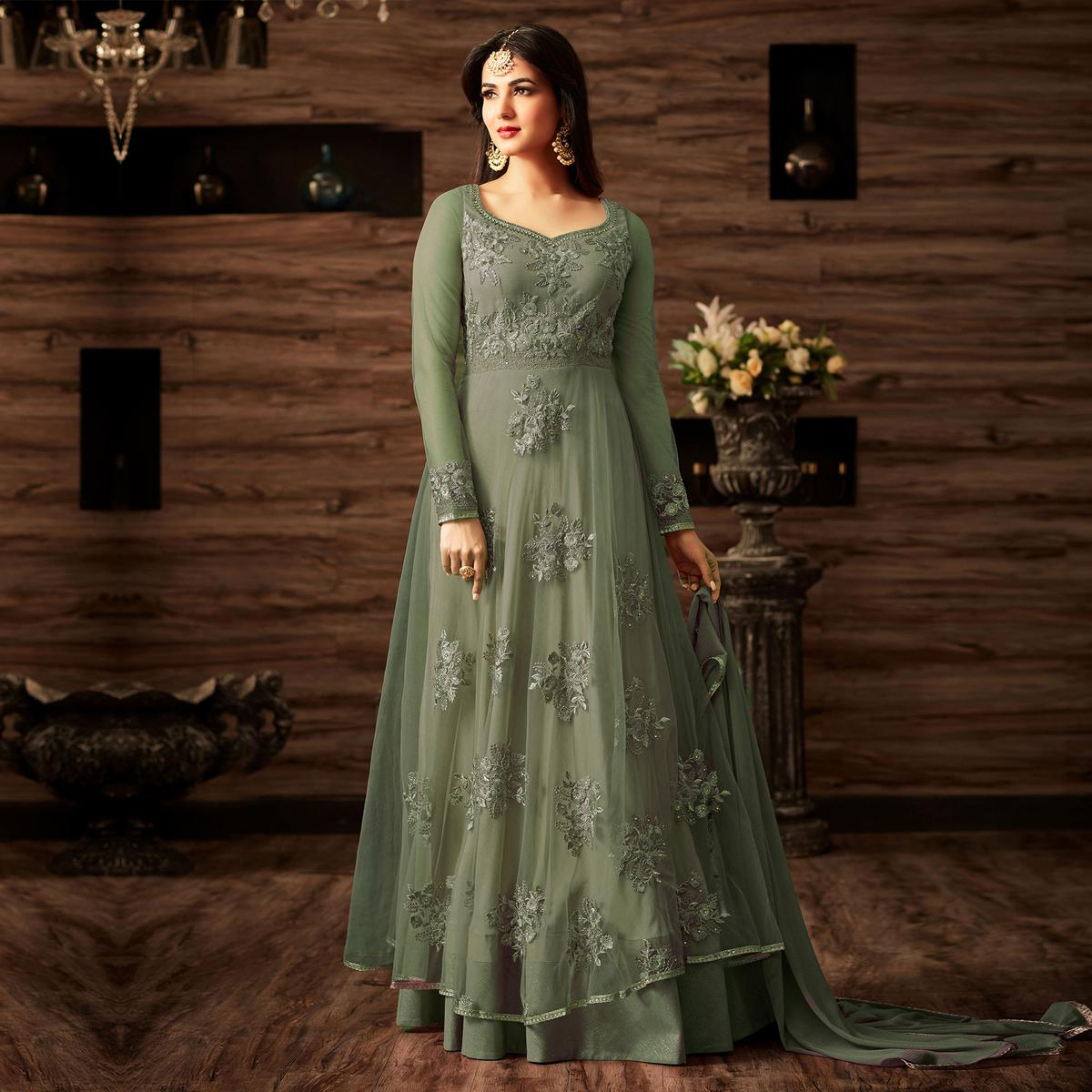 Gorgeous Light Green Net Designer Partywear Embroidered Anarkali Suit