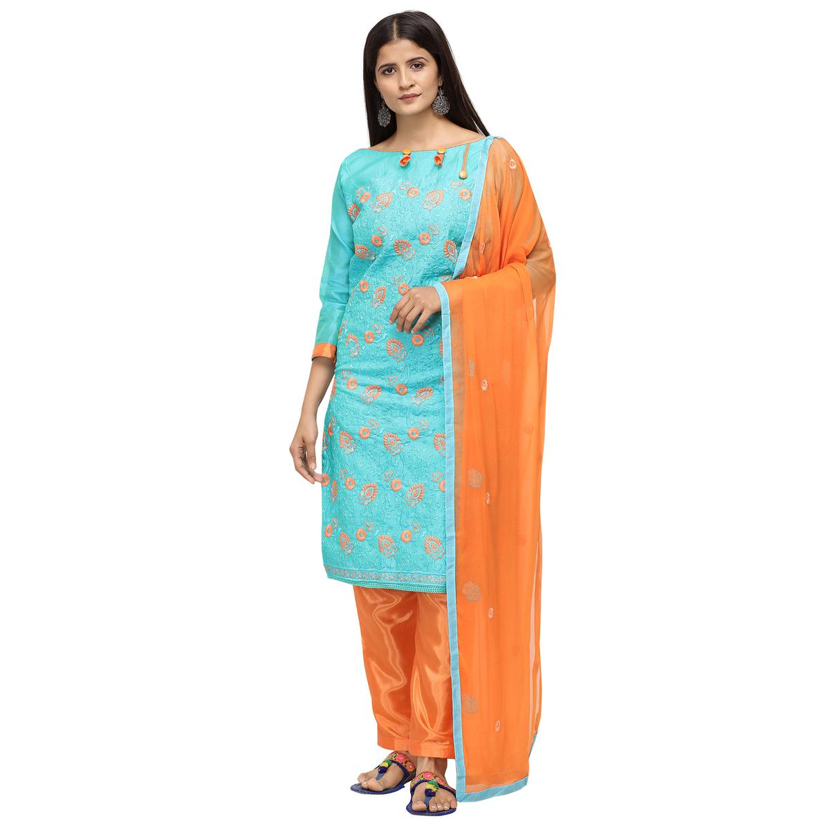 Exclusive Sky Blue Colored Casual Wear Embroidered Chanderi Cotton Dress Material