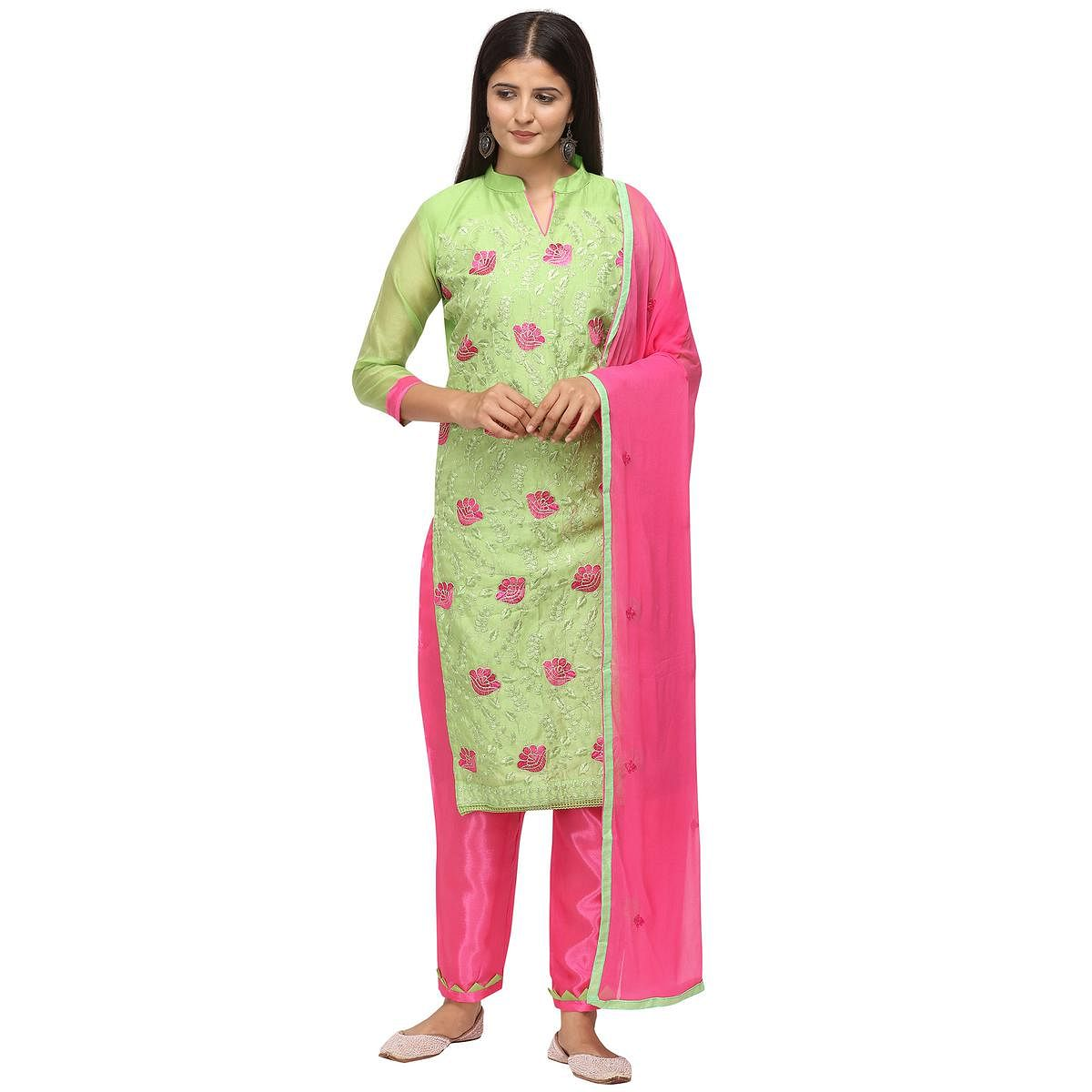 Graceful Light Green Colored Casual Wear Embroidered Chanderi Cotton Dress Material