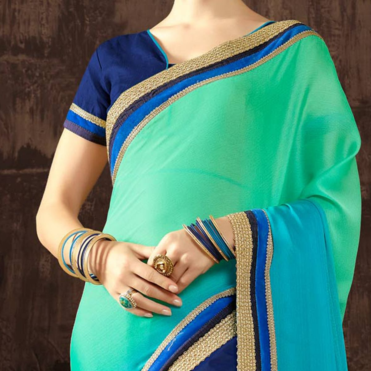 Alluring Green - Blue Floral Embroidered Half - Half Saree