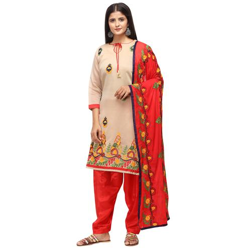 Eye-catching Beige Colored Casual Wear Embroidered Chanderi Cotton Dress Material