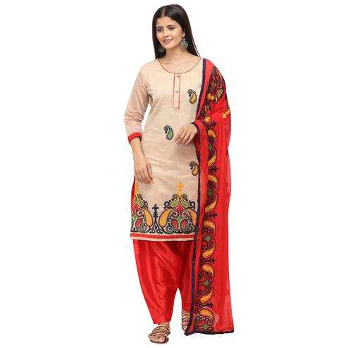 Fantastic Beige Colored Casual Wear Embroidered Chanderi Cotton Dress Material