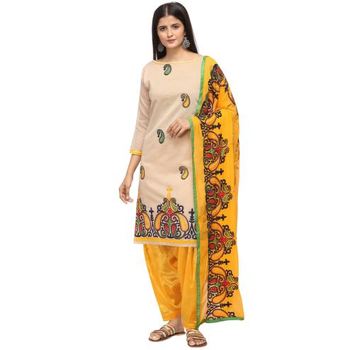 Amazing Beige Colored Casual Wear Embroidered Chanderi Cotton Dress Material
