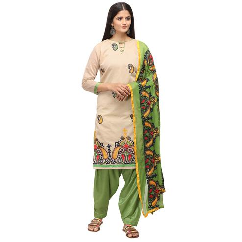 Gorgeous Beige Colored Casual Wear Embroidered Chanderi Cotton Dress Material